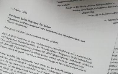 Barrieren beim Neustart Kultur: Ein offener Brief an Kulturstaatsministerin Monika Grütters